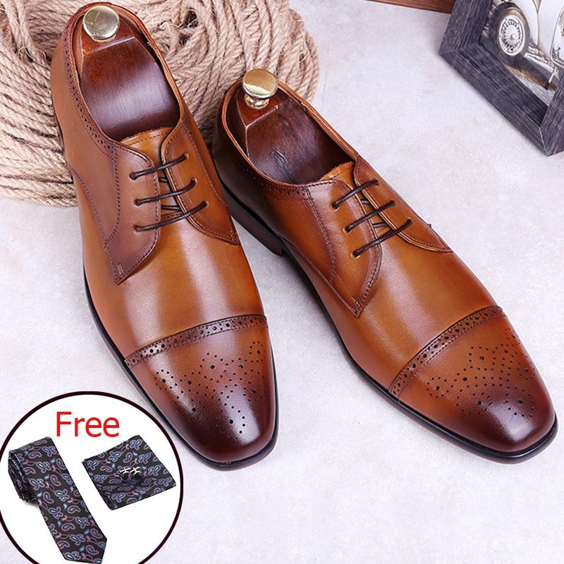الرجال حقيقية جلد البقر البروغ حذاء أيرلندي الزفاف الأعمال رجل عارضة الشقق أحذية 2019 الأسود خمر أكسفورد أحذية لل أحذية رجالي-في أحذية رسمية من أحذية على  مجموعة 1