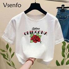 Chingona rose Latina Print t-shirt Women Casual short sleeve Funny graphic t