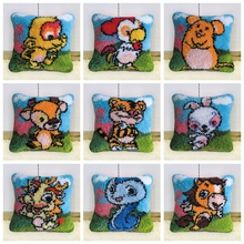 Do-It-Yourself Carpet Kits Zodiac Button Cushion Animals Latch Hook Rug Foamiran For Needlework Tiger Carpet Embroidery Pillow rainbow flower cushion button package smyrna needle for carpet embroidery everything for handmade latch hook rug do it yourself