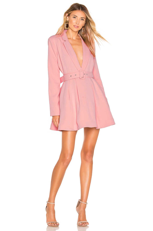 Neue 2019 herbst und winter promi party rosa temperament lange ärmel tiefen V-ausschnitt gürtel windjacke stil flauschigen kleid mode