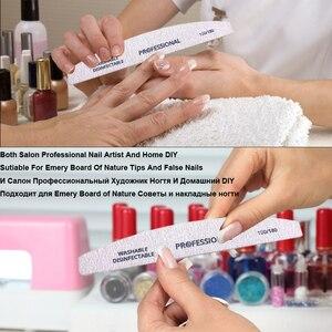 Image 5 - Lixa de unha pçs/lote, bloco de lixa para pedicure polimento de manicure pp ou madeira ferramenta profissional barco cinza 5 100/180