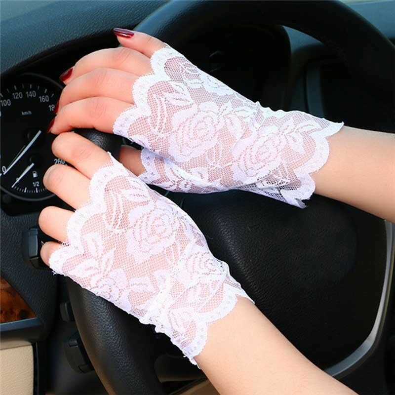 2019 New Fashion Female Sexy Lace Gloves Sunscreen Fingerless Gloves Driving Anti-UV Party Gloves Black White Color