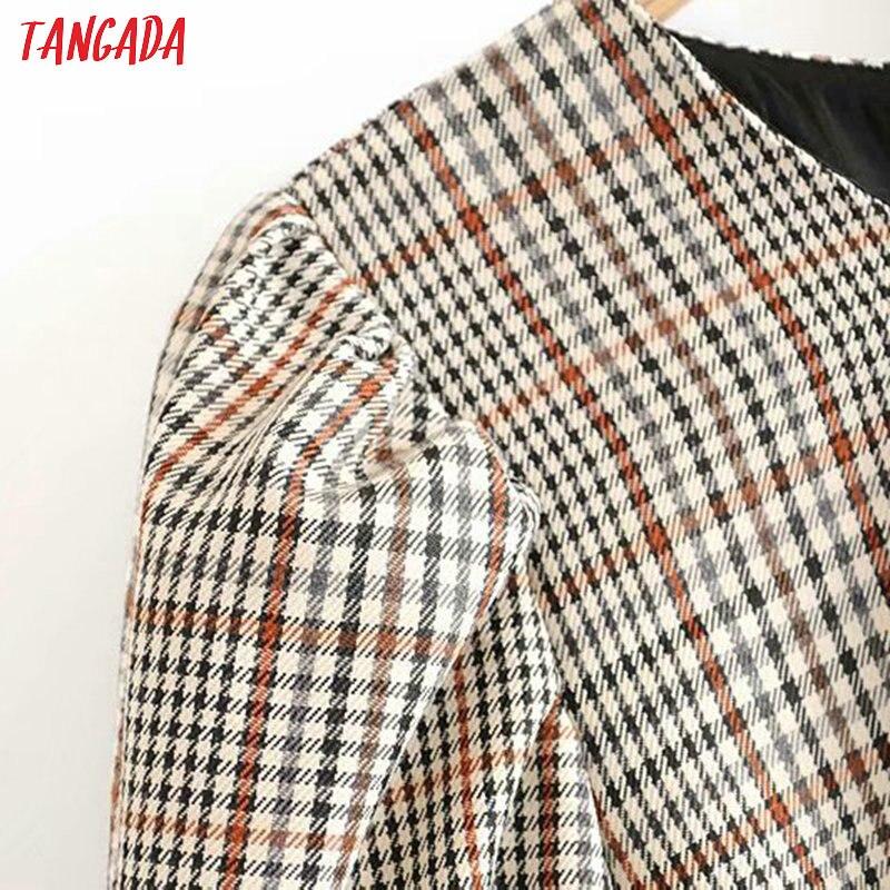 Tangada England fashion women plaid pattern dress with belt o neck Long Sleeve Ladies mini Dress Vestidos 6P17 2