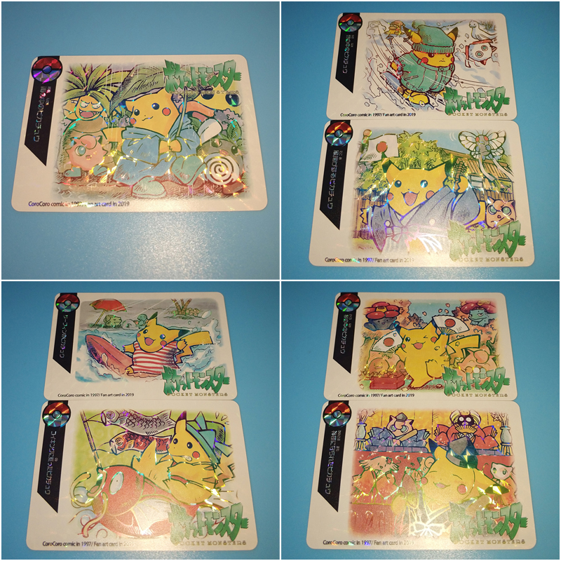 7PCS/SET Pokemon Glare Flash Cards Pikachu Travel Series Reizen Collectie Kaart Kids Toy Gifts Game Collection Cards