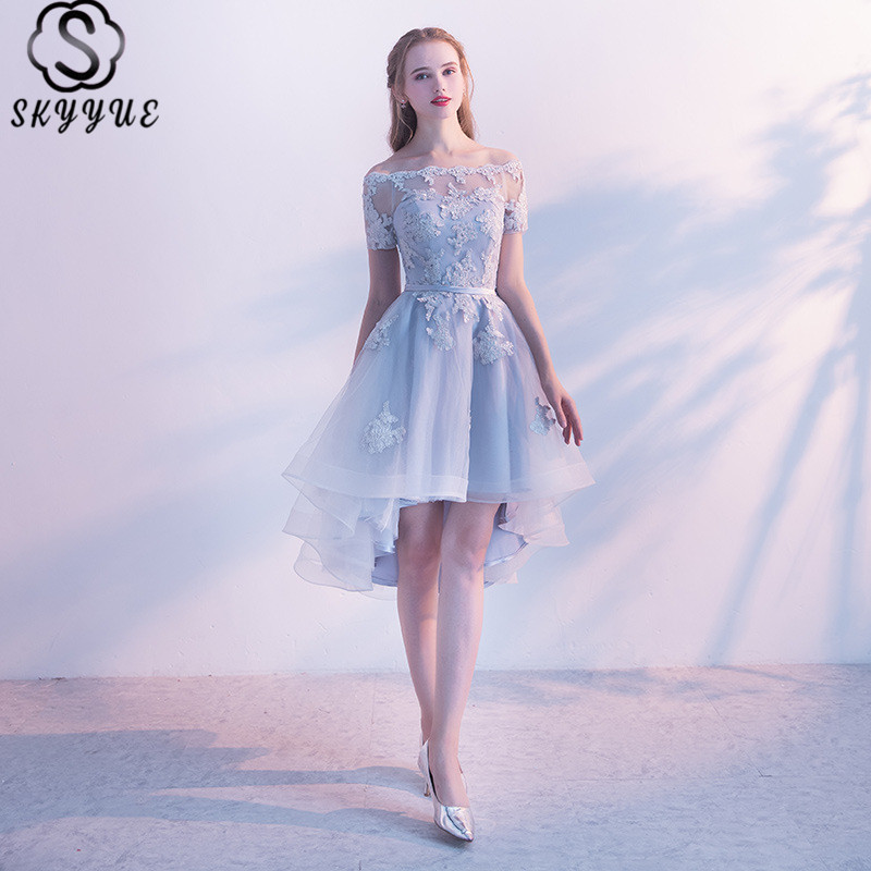 Skyyue Prom Dresses Off Shoulder Lace Solid Sexy Prom Dress Boat Neck A-Line Embroidery Short Sleeve Prom Dresses 2019 LX454