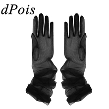 Costume-Accessories Mittens Long-Gloves Transparent Women Full-Finger Sheer Holiday See-Through