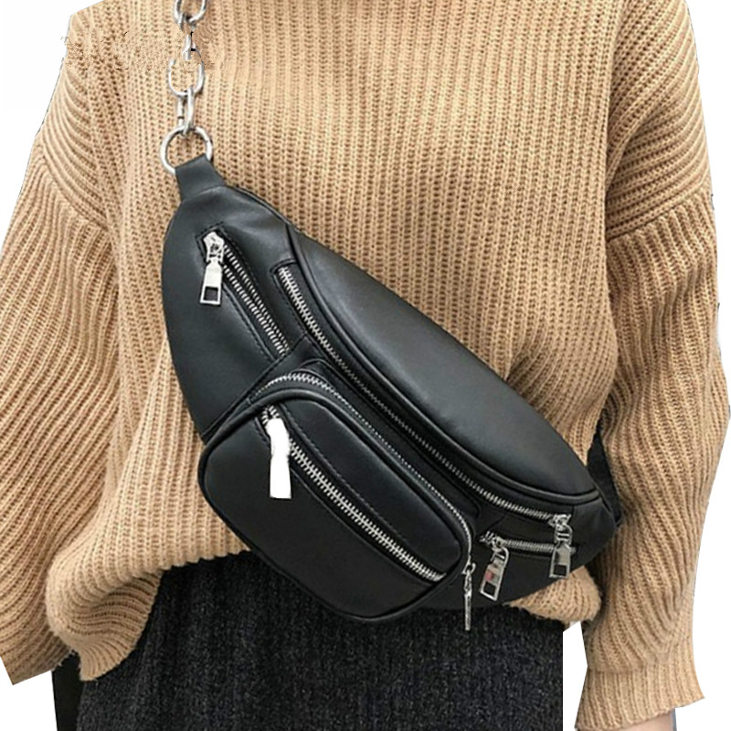SHUJIN Pu Leather Zip Pouch Women Waist Bag Fashion Belt Chest Bag Travel Money Phone Bags For Ladies Female Luxury Funny Pack