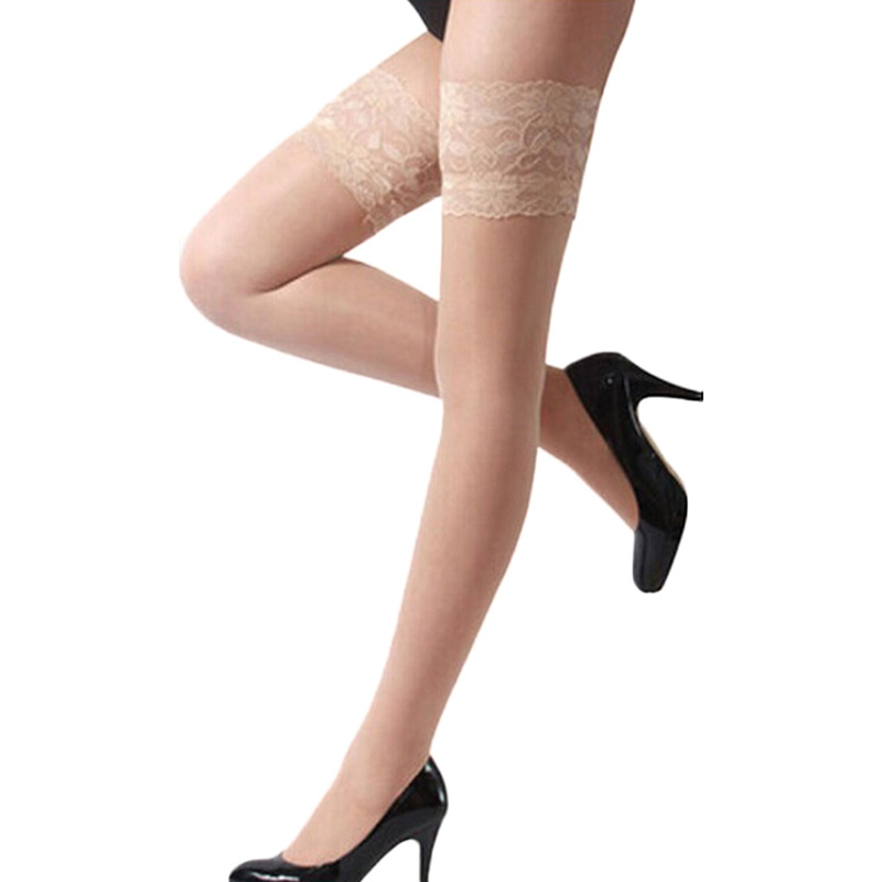 Women's Sexy Lace Top Silicone Band Stay Up Stockings Lingerie Ladies High Stockings Pantyhose
