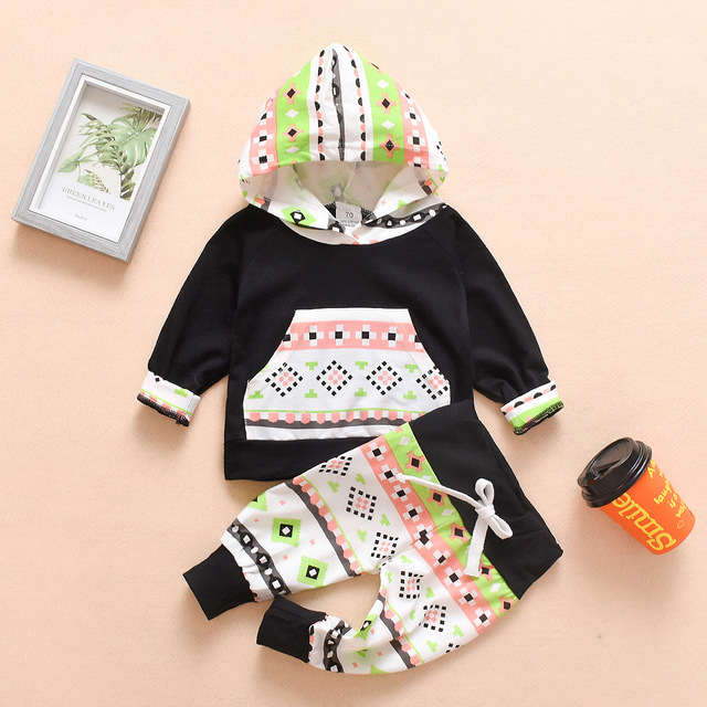 2019 New Winter Newborn Baby Girls Boys Clothes Cotton Christmas Hooded Sweatershirts+Pants 2PCS Outfits Set Baby Clothing Sets