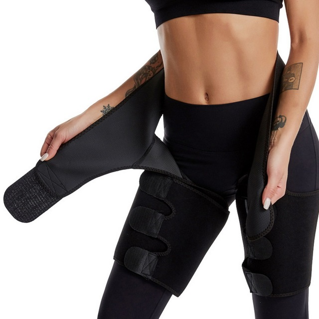 3 in 1 Women Hot Sweat Slim Thigh Trimmer Leg Shapers Push Up Waist Trainer Pants Fat Burn Neoprene Heat Compress Slimming belt 4