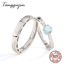 Tanggujin 925 Sterling Silver Rings Adjustable Couple Ring For Women Men Lovers Blue Crystal Wedding Band Finger Jewelry