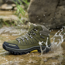 Waterproof Outdoor Hiking Shoes Winter High-cut Warm Trekking Non-slip Leather Climbing Mountain Boots for Men