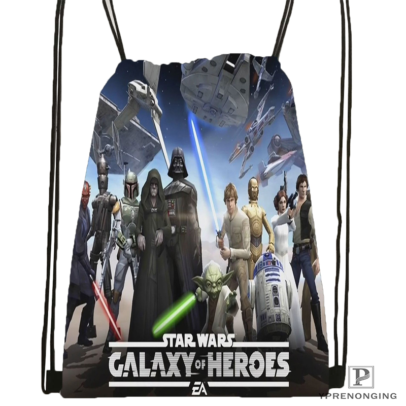 Custom Star War Marvel Drawstring Backpack Bag Cute Daypack Kids Satchel (Black Back) 31x40cm#180531-02-54