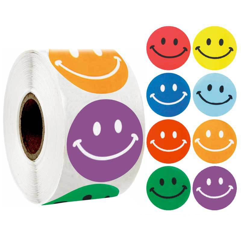 500pcs Funny Stickers Smile Face Reward Children Stickers 1'' School Teacher Merit Praise Class Sticky Paper Stationery Stickers