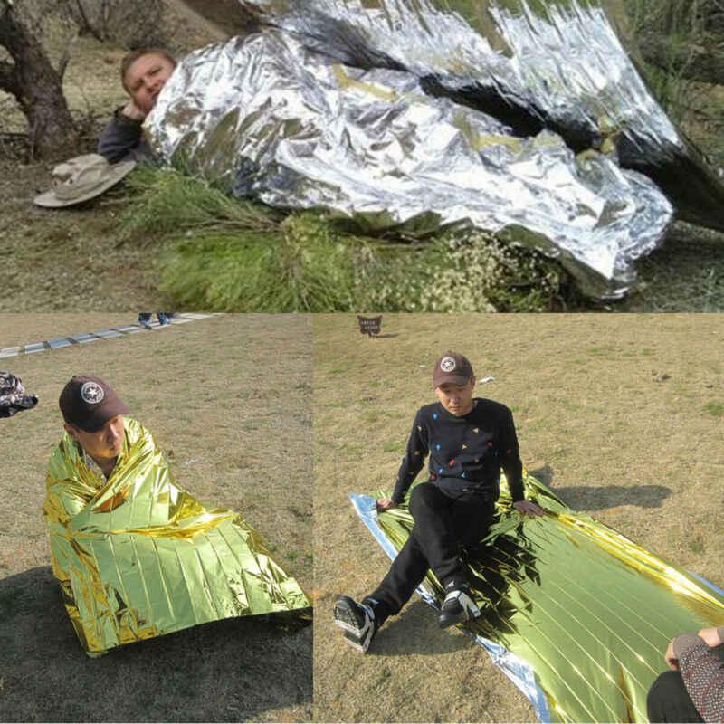 Na zewnątrz wodoodporny awaryjne Survival Rescue koc folia termiczna przestrzeń pierwszej pomocy Sliver Rescue Curtain wojskowy koc