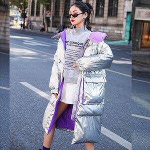 Image 3 - FTLZZ 새 겨울 자켓 여성 화이트 오리 파커 스 여성 스탠드 칼라 Thicken Warm Coat 실버 블랙 스노우 다운 아웃웨어