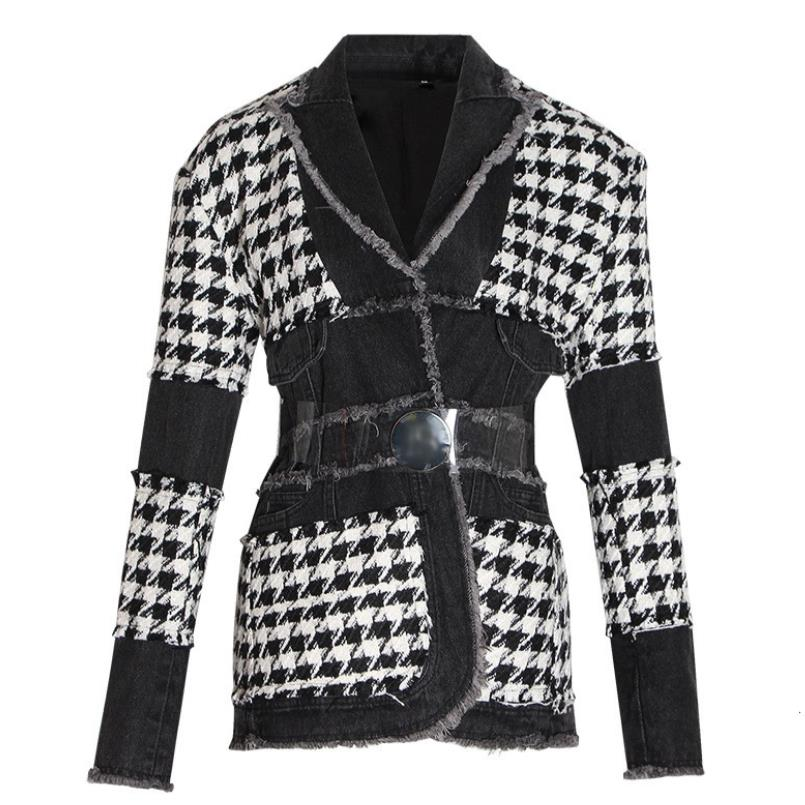2020 Spring Autumn New Fashion Houndstooth Blazer Women Belt Waist Ladies Retro Denim Stitching Slim Suit Jacket