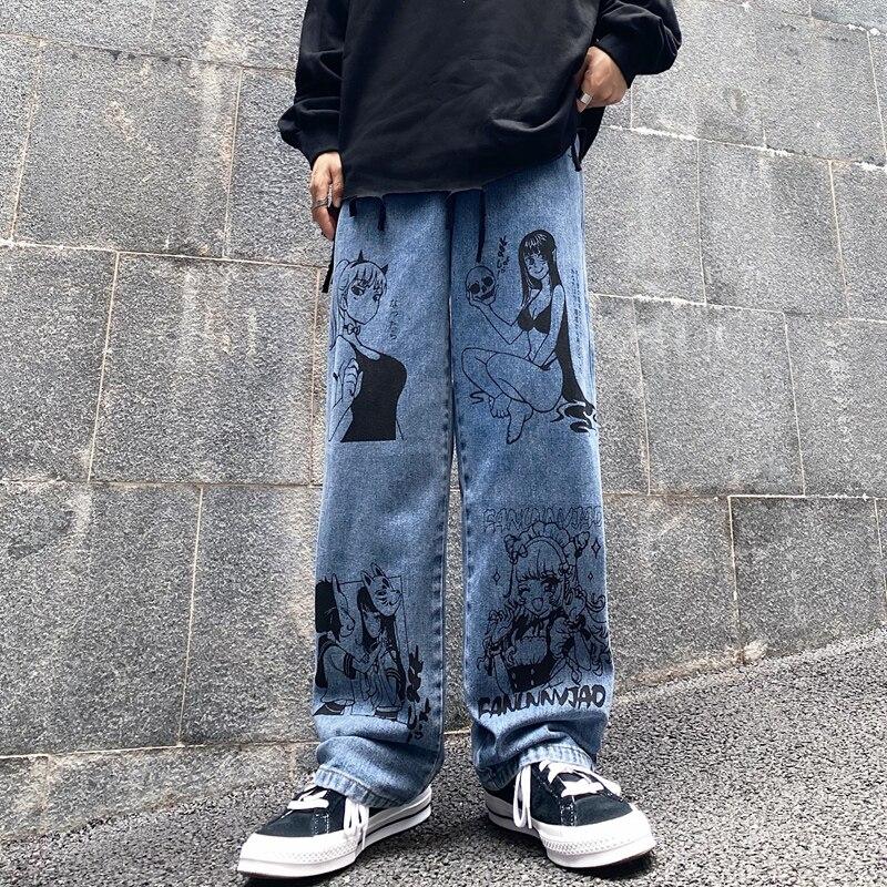 Calças de brim lavadas do vintage das mulheres streetwear harajuku dos desenhos animados anime imprimir jeans moda homem calças de brim soltas largas calças de perna algodão