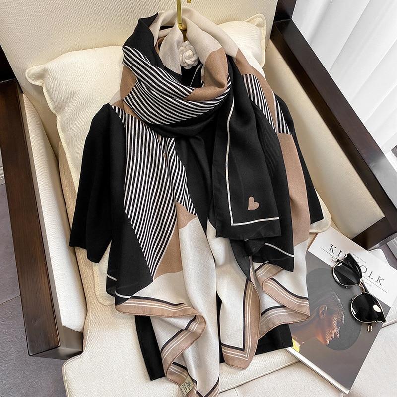 Scarf Fashion Foulard-Bandana Hijabs Pashmina Spring Plaid Warm Winter Cotton New-Design