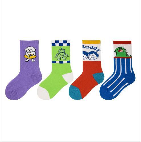 3-12Year 4Pairs Pack Children Socks Autumn Letters Street Sports Style Personality Kids Boy Girls Cartoon Kids Tube Socks 6