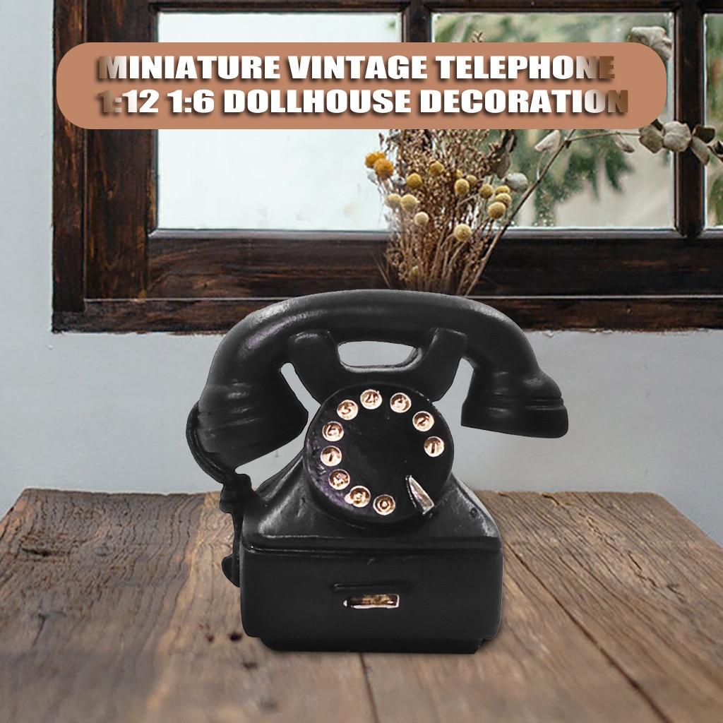 1//12 Dollhouse Miniature Retro Phone  style Telephone Model Decor Pink