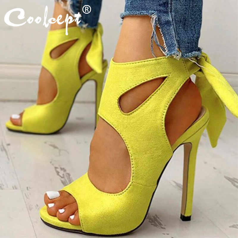 Coolcept Women Sandals Shoes Fashion Peep Toe Back Lace Up Shoes Women Summer Sexy Thin High Heels Party Footwear Size 35-47