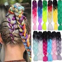 Ombre косички для наращивания, чистый смешанный цвет, огромные косички для девочек, женщин, леди, синтетические косички, Kanikalon волосы, кросички