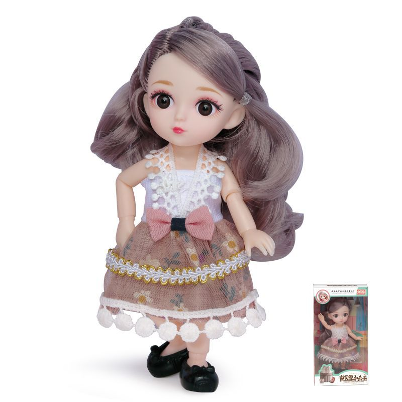 16cm/31cm Bjd Doll 12 Moveable Joints 1/12 Girls Dress 3D Eyes Toy with Clothes Shoes Kids Toys for Girls Children Birthday Gift 8