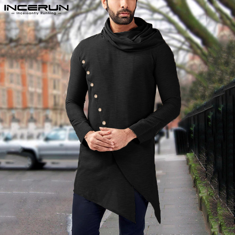 INCERUN 2020 Men Indian Shirts Long Sleeve Turtleneck Vintage Solid Button Irregular Long Tops Dress Shirts Men Muslim Clothing