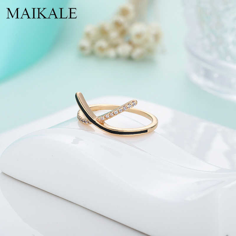 MAIKALE Simple Cross Thin Rings for Women Enamel Zirconia X Shape Finger Ring Wedding Band Party Jewelry Female Accessories Gift