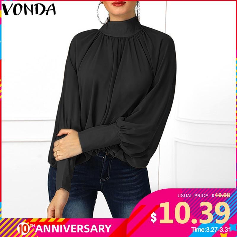 VONDA Plus Size Blouse Women 2020 Spring Tunic Sexy O Neck Long Lantern Sleeve Shirts Casual Loose Blouses Office Ladies Tops