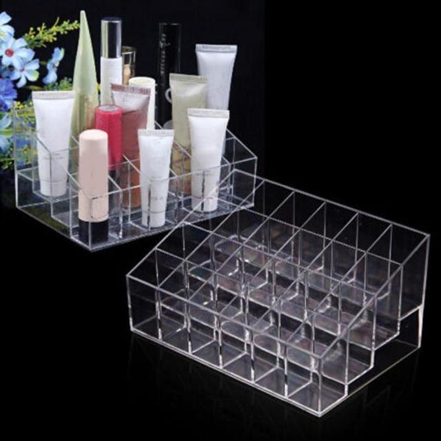 Clear Acrylic 24 Grid Makeup Organizer Storage Box Lipstick Nail Polish Display Stand Holder Cosmetic Jewelry Organizer Box Case 3
