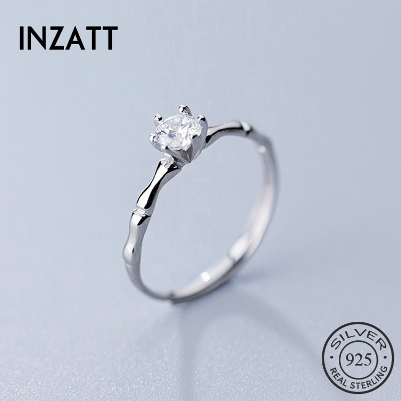 INZATT Real 925 Sterling Silver Minimalist Zircon Opening Ring For Women Wedding Party Cute Fine Jewelry 2019 Accessories Gift