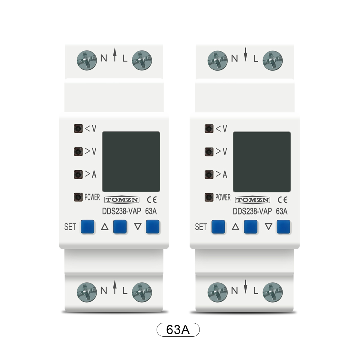 Image 4 - 63A 80A 110V 230V Din rail adjustable over under voltage protective device protector current limit protection Voltmeter KwhCircuit Breakers   -