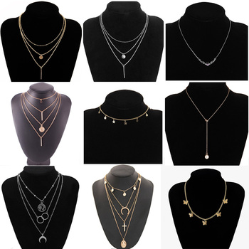 Vintage Multilayer Pendant Necklaces For Women Butterfly  Moon Star Charm Gold Choker Necklace Bohemian Jewelry Party vintage multilayer pendant necklaces for women butterfly moon star charm gold choker necklace bohemian jewelry party