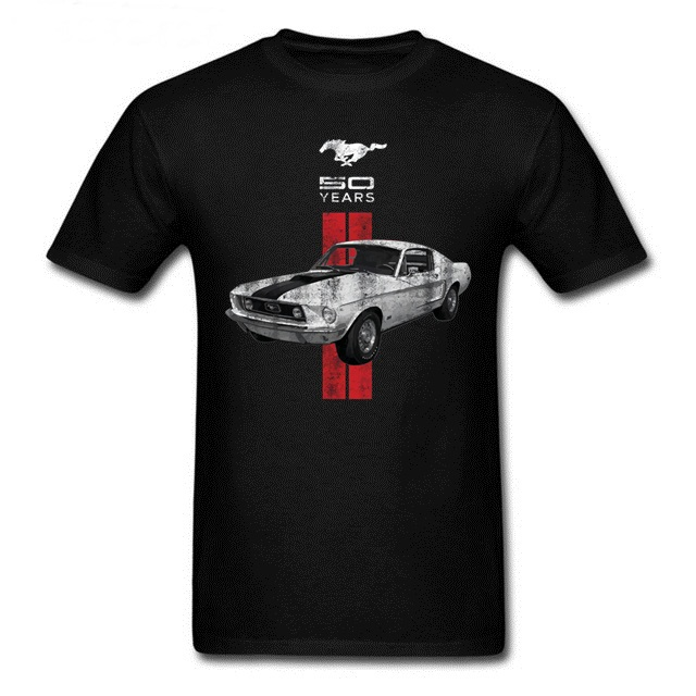 Men Mustang 50 Years Classic Car Logo Men T-shirt Ford Mustang Men's T-shirt Short Sleeve Sturdy Muscle Basic Solid Blouse Tee