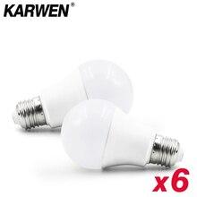 6 adet/grup Lampada LED lamba E27 E14 ampul 3W 6W 9W 12W 15W 18W 20W 220V soğuk beyaz sıcak beyaz oturma odası iç aydınlatma