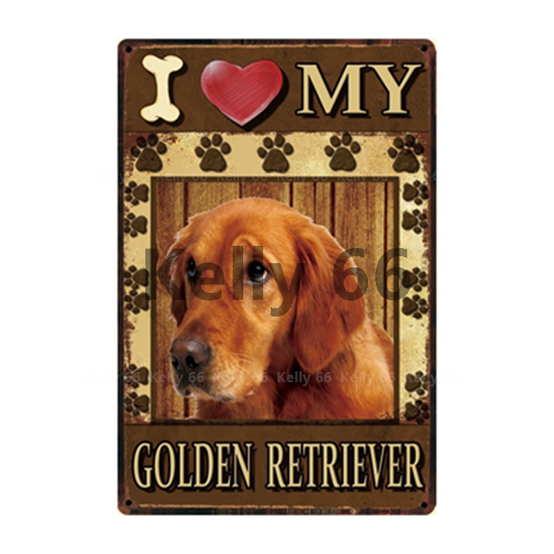 Dog I Love My Dog Breed Metal Sign Home Decoration  My Pet World Store