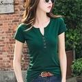 Frauen Baumwolle T Shirt Beiläufige Kurze Langarm T-shirt Femme 2021 Sommer Frühling Sexy v-ausschnitt Tops Dame Grün Schwarz weiß Mode