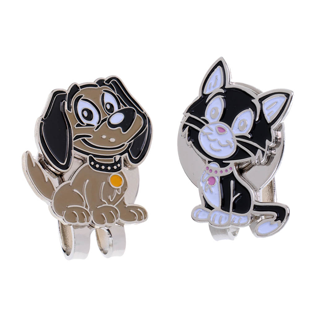 Cute Cat & Dog Golf Ball Markers With Magnetic Golf Hat Clip, Set Of 2