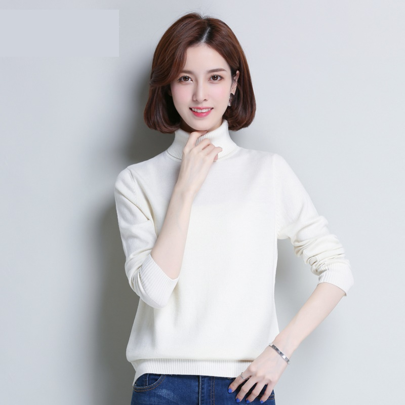 female High collar sweater women's pullover autumn winter solid color wild bottoming sweaters <font><b>1342</b></font> image