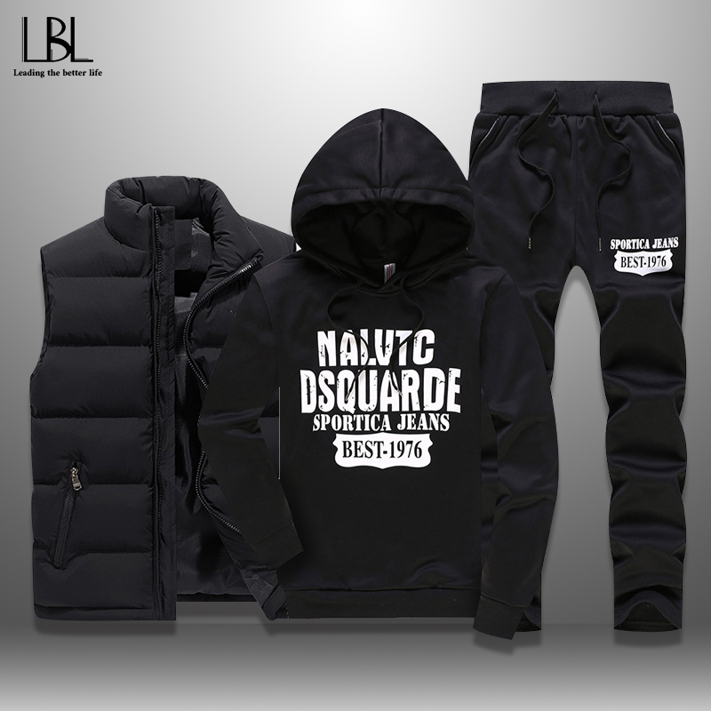 Men's Winter Tracksuits Casual Sportswear Sweatshirts Mens Set 3 Pieces Warm Vest Sweatpants Hoodie Letter Printed Plus Size 5XL
