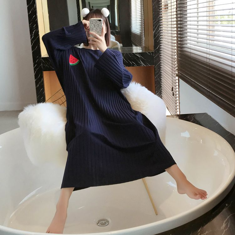 Spring And Summer Cotton Students Women's Large Size Pajamas Autumn Long Sleeve Princess Nightgown Pure Cotton Pregnant Women On
