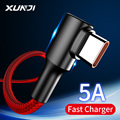 XUNJI USB Type C Cable Fast Charger Cord 5A Nylon Braided Mobile Phone Cables For Huawei Xiaomi