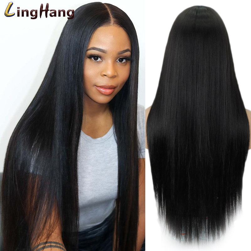 LingHang Long Straight Synthetic Lace Wig Mixed Brown and Blonde Long Wigs for White /Black Women Middle Part Nature Wigs