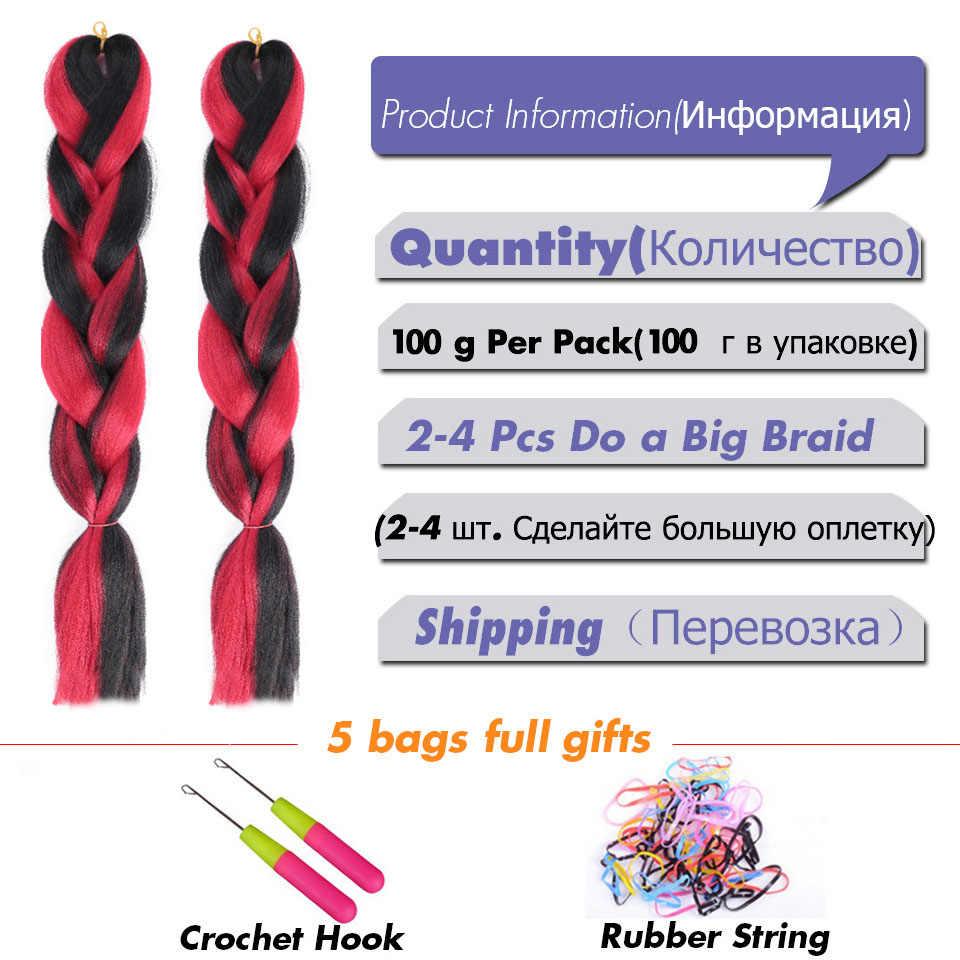 MANWEI24inch Ombre Haak Haaraccessoires Hair Extensions Jumbo Vlechten Kapsels Roze Blonde Rood Blauw Vlechten Haar