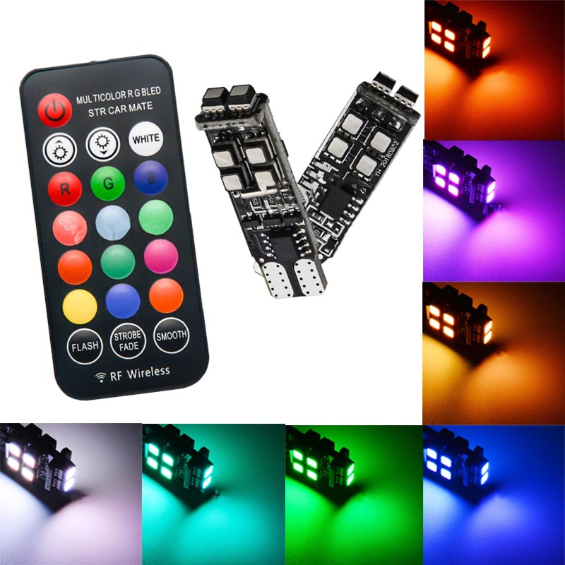 2x RGB T10 3535 LED Car Colorful Bulbs    With  Remote  Control  W5W  RF Flashing Wide Light Reading Light
