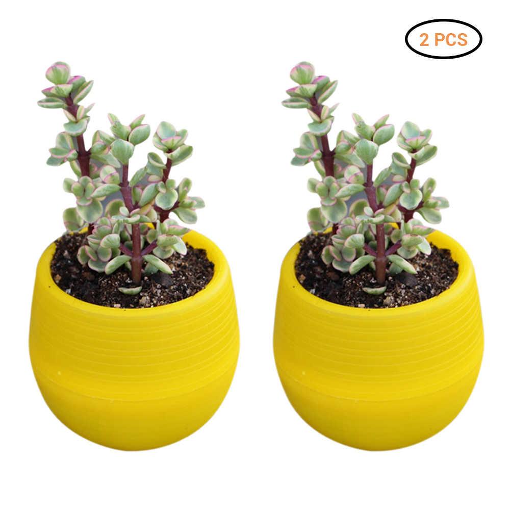 2 Pcs Mini Bunga Tanaman Pot Bulat Hijau Tanaman Pot Bunga Taman Kantor Dekorasi Rumah Pot Aksesoris