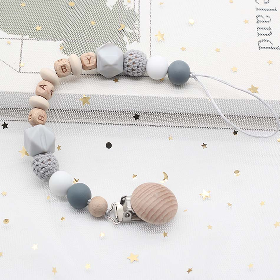 2020 Baby Personalized Name Silicone Bead Teething Pacifier Clip Wood Beads Nursing Clip Toy Binky Binkie Clip Baby Shower Gift