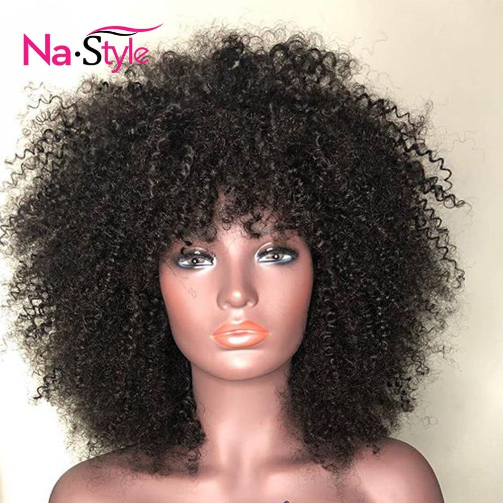Афро кудрявый парик с челкой глубокая часть 13х6 кружева фронта человеческих волос парики для черных женщин короткие парики из человеческих ... - 4